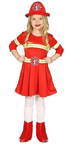 Firewoman Kostüm - Fancy Me Mädchen-rot Feuerwehrmann Job Uniform Kleid Kostüm Schuhe 3-12 Jahre - Rot, Rot, 7-9 Years