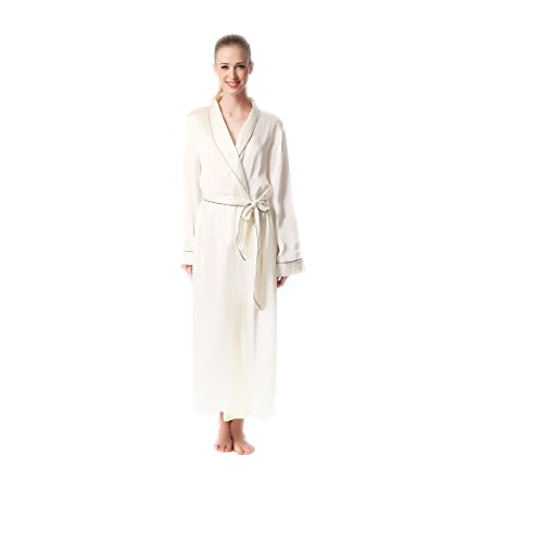 Jasmine Silk 100% Seide Morgenmantel Robe Damen White (Thread Count Natürlichen)