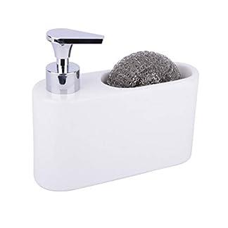 KOOK TIME Dispensador de Jabón Liquido de Cerámica para Cocina con Hueco para Estropajo, 18 x 6 x 15.5 cm, Color Blanco