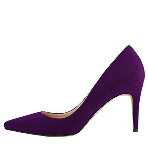 OCHENTA Femme Escarpin Suedine Classique Talon Aiguille A Enfiler Chaussures Plusieurs Couleur Violet