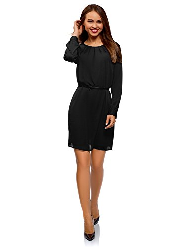 oodji Ultra Damen Kleid aus Fließendem Stoff mit Gürtel, Schwarz, DE 40 / EU 42 / L