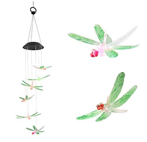 r Rotierende Windspiel Licht Farbe Wasserdicht für Zuhause Outdoor Party Nacht Garten Lichter Dekoration,Dragonfly ()