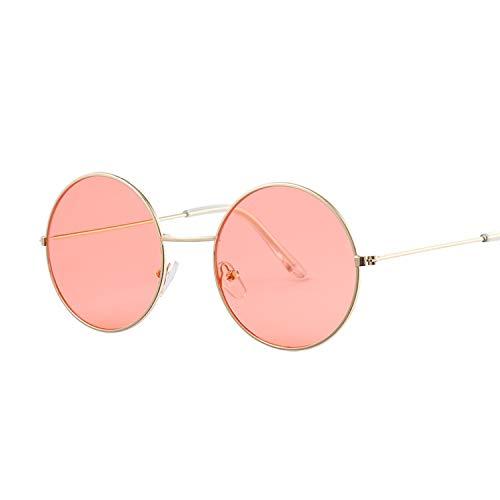 YUHANGH Vintage Runde Sonnenbrille Frauen Ozean Farbe Objektiv Spiegel Sonnenbrille Weiblichen Metallrahmen Kreis Brille Oculos