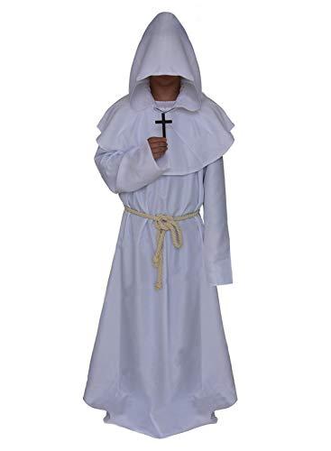 Gewand - Mönchskutte Mittelalter Hooded Renaissance Priester Robe Halloween Cosplay (Weiß, M) ()