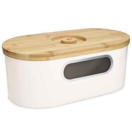 Navaris Panera con Tapa de bambú - Recipiente para Pan con Tapa de Madera y Tabla de Cortar - Caja...