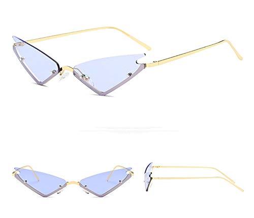 WSKPE Sonnenbrille,Die Kleine Katze Auge Sonnenbrille Frauen Brillen Weiblichen Metall Dreieck Gläser Farben Uv400 Gold Frame Lila Objektiv