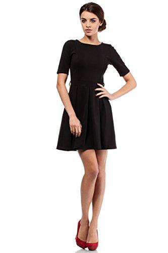 MOE Außergewöhnliches Kleid mit Kellerfalten glockig in Trendfarben, Größe 38, Schwarz (Kleid Kellerfalte)