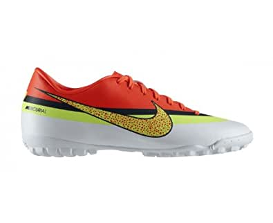 Mercurial Victory IV CR7 TF Football Trainers White/Volt/Total Crimson - size 8.5