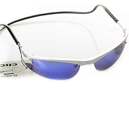 CliC Magnetic Front Connect Stilvolle Sonnenbrille mit Wechselgläsern schwarz und blau trendig gebürstet silber matt Rahmen silber verstellbar Kopfband schwarz