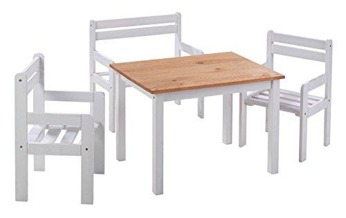 Home4You Sitzgruppe Kindergruppe Kindersitzgruppe | Kiefernholz Weiß | 1 Tisch 2 Stühle 1 Sitzbank - 4 Armlehnen