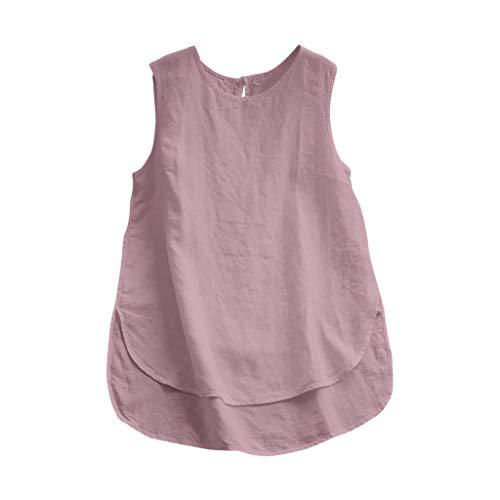 TUDUZ Tank Tops Damen Sommer Leinen Freizeit Einfarbig Oberteile Asymmetrie vorne und hinten Hem Blusen Retro Ärmellos Rundhal T-Shirt Tuniken Pullover(XXX-Large,Rosa)