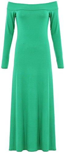 Nouveaux Femmes Grande Taille manches Off Complet épaule longue évasée Jersey Maxi 36-50 Jade Green