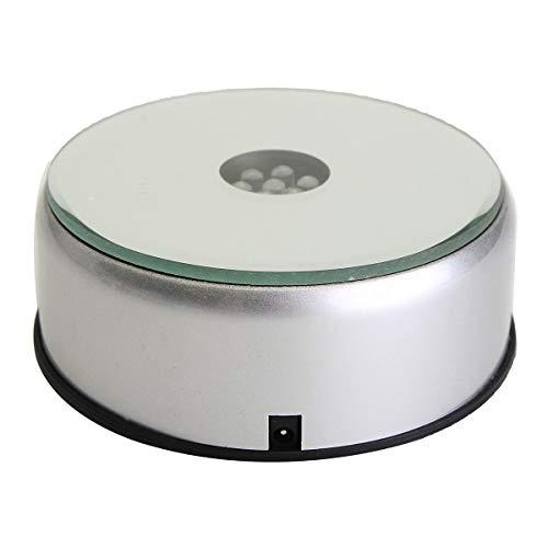 Hilitand 7 Farben Rotierende Lampenfassung (Batterie/Stecker) Crystal Trophy Base + AC110-240v Adapter (EU-Stecker) 10x3.5cm(EU Plug) -