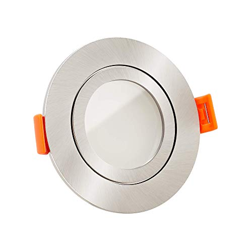 10x dimmbare, ultra flache 25mm Bad LED Einbaustrahler IP44 | 6W statt 70W | 230V | 3000 Kelvin | warmweiße Lichtfarbe | Eisen-gebürstetes Aluminum | 10er Set 3000K