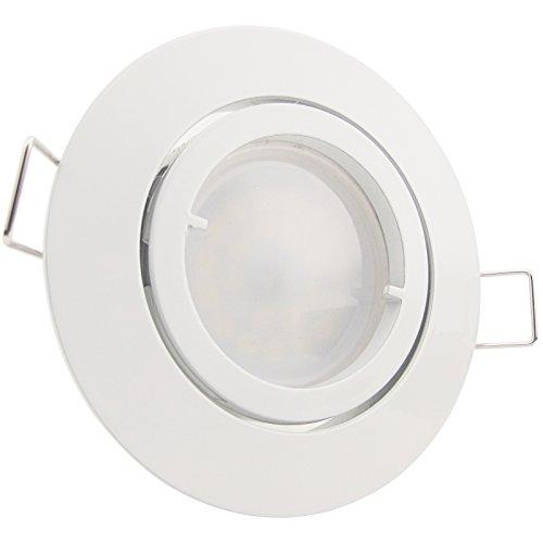 10er-Set LED Einbaustrahler PAGO 230V Farbe: Weiß – inkl. austauschbarem LED-Leuchtmittel wahlweise in Warm-Weiß oder Kalt-Weiß