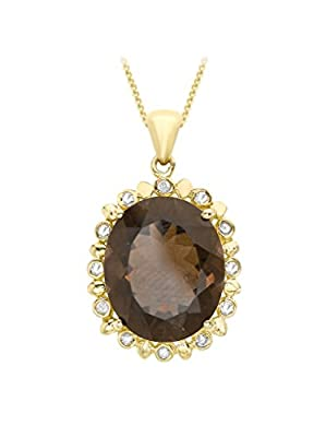 Carissima Gold 9ct Yellow Gold Diamond and Smoky Quartz Pendant on Chain Necklace of 46cm/18""