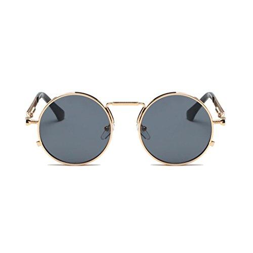 URSING Eyewear Sonnenbrille Runde Hippie Schattierungen Retro Farbige Linsen Runde Spiegelglas Sonnenbrillen Integriertes UV Brille Fashin Travel Sunglasses für Damen Herren (B)