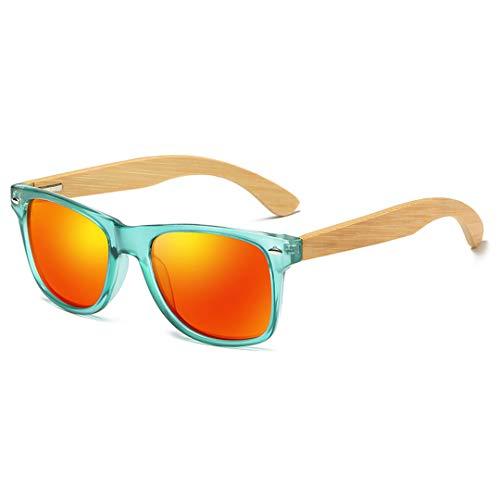 DAIYSNAFDN Polarisierte klare Rahmen Holz Sonnenbrillen handgefertigte Bambus Beine Sonnenbrillen und Unterstützung Red