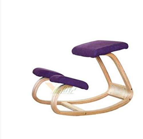 TWOBEE Original Ergonomic Kneeling Chair Home Office Furniture Ergonomischer Schaukelstuhl aus Holz mit Rückenschonung des Computers, Design violett -
