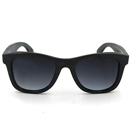 Herren Sonnenbrillen Hochwertige polarisierte Sonnenbrille aus Bambusholz für Damen, UV-Schutz Frauen DIY (Farbe : Bamboo Frame - Grey)