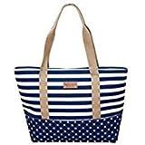 Tradico® Ladies Canvas Color Blocking Stripe Shoulder Bag (Blue)