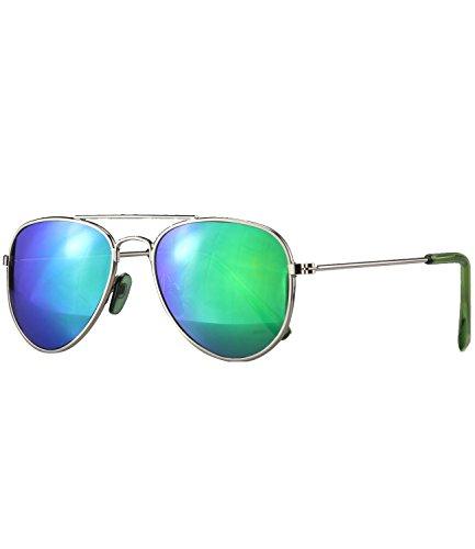 Caripe Kinder Pilotenbrille verspiegelt Metall Sonnenbrille Retro Jungen Mädchen - pil (One Size, 13001 - silber - bluegreen verspiegelt)