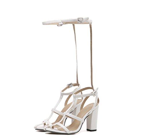 Faraly Mode De Mode Roman Chaussures Sangle T-déchirure Demi-talon Mince Sangle Casual Chaussures Élégant Sandales Blanc
