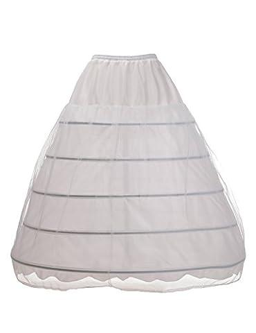 Alicepub 5 Ringe Reifrock Unterrock Brautkleid Ballkleid Krinoline Petticoat, Weiß, L