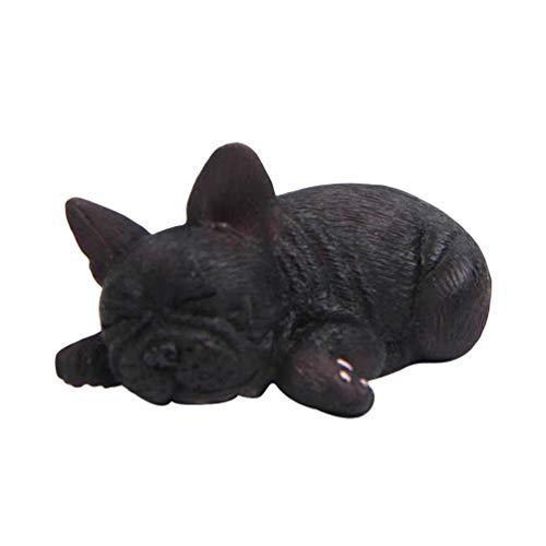 Garneck Französische Bulldogge Figur Harz kniend liegend schlafen Hund Statue Miniatur Skulptur Spielzeug Tier Handwerk Schreibtisch Dekor für zu Hause Autotelefon (schwarz) -