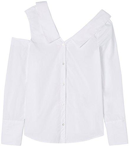 FIND Damen Hemd One Shoulder Shirt Weiß