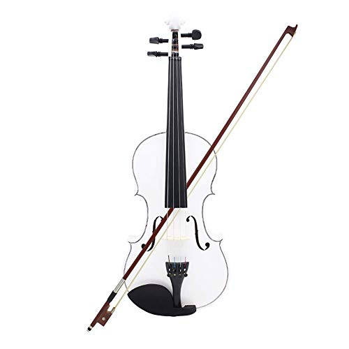 usikinstrument Violine Vollsize Violine Adult Child Beginner Streichinstrument (Konfiguration: Violin*1, Bow*1, Dreieck Box*1)-Weiß ()