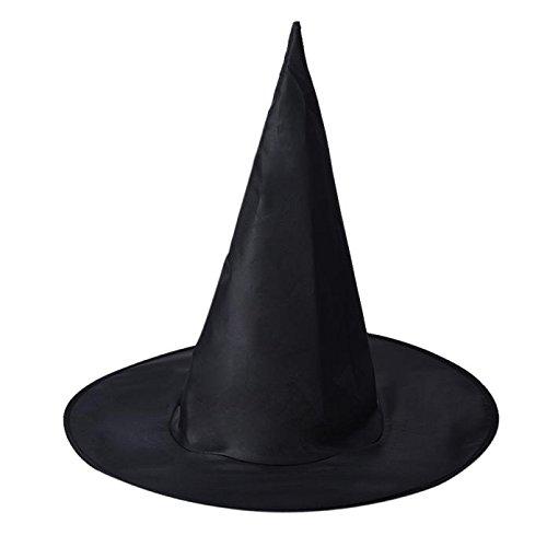 MRULIC 6Pieces Frauen oder Männer Schwarze Hexe Hut für Halloween Kostüm Zubehör Cap Magician Magic Jazz Hut(schwarz,6Pcs)