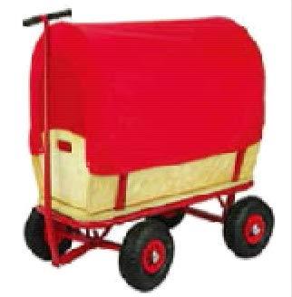 RAMROXX 34186 Holz Handwagen Planwagen Bollerwagen mit Abdeckung bis 100 Kg