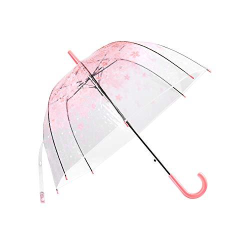 Regenschirm Transparent,LUOLLOVE Durchsichtiger Regenschirm für Kinder Mädchen Damen, Romantisch Rosa transparent Regenschirm für Hochzeit,Stockschirm Leicht,Winddicht,Half-Automatik