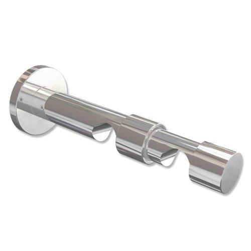 Interdeco Gardinenstangen Doppel-Wandhalter / Träger / Schraubkappen-Halterung Chrom 7 und 12 cm Abstand offen 2-läufig 20 mm Ø Prestige