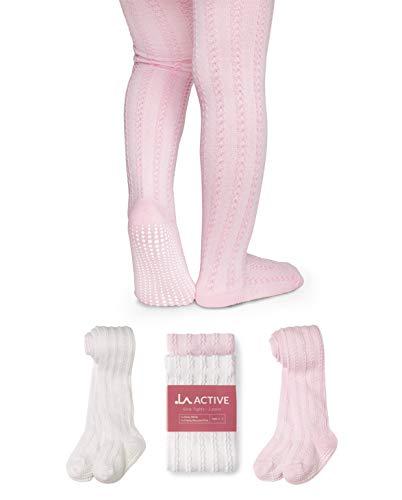 La active collant bambina 2 paia - bambini tenuta antiscivolo cotone maglia a trecce (rosa y bianco, 4-5 anni)