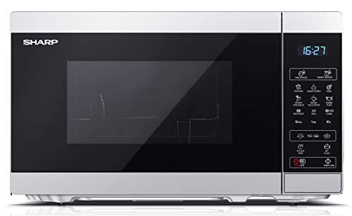 SHARP YC-MG02ES Mikrowelle mit Grillfunktion/Auftauprogramm/ 800 Watt/20 Liter/ 11 Leistungsstufen/ECO/Timer-Funktion/Kindersicherung/Inkl. Drehteller, displaysteuerung