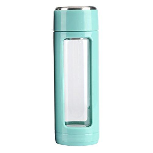 320ml Botella de Aislamiento de Vidrio, Creativo de Té/Café,Botella Transparente de Agua, Doble Capa al Aire Libre (Color : Azul)