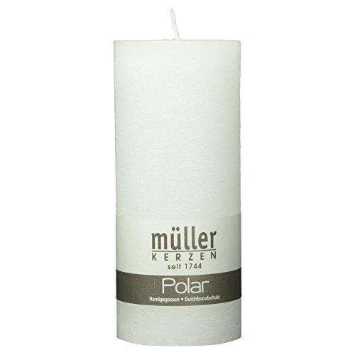 Müller Kerzen Polar handgegossene Stumpenkerze weiß, 1 Stück