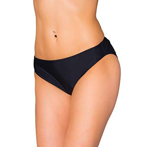Aquarti Damen Bikini Hose mit mittelhohem Bund, Farbe: Schwarz, Größe: 42 (Damen Günstige Slips)