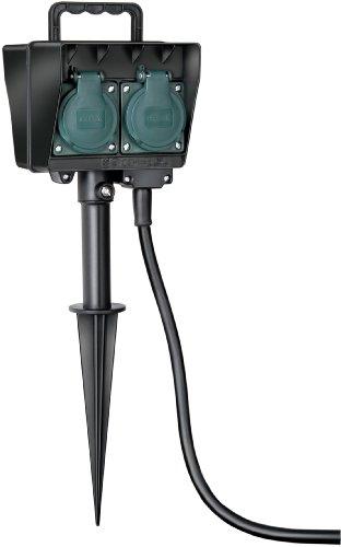Brennenstuhl Gartensteckdose, Außensteckdose 4-fach mit Erdspieß, witterungsbeständiger Kunststoff (wasserfestes Gehäuse - 10m Kabel) Farbe: schwarz - 4-steckdose Metall