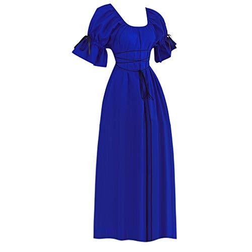 VJGOAL Damen Kleider, Frauen Elegant Kleid Mittelalter Solid Retro Stil Kurze Ärmel Prinzessin Rock Kleiden(Blau,42)