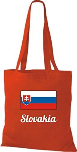 ShirtInStyle Stoffbeutel Baumwolltasche Länderjute Slovakia Slowakei Farbe Pink rot