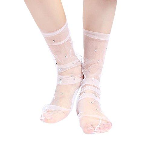 URSING Frauen Mode Glitter Stern Weiche Mesh Socke Transparente elastische schiere Knöchelsocke Freizeitsocken Mädchensocken Antirutschsohle Prinzessin Art Socken für Sommer Frühjahr (Pink#) (Schiere)