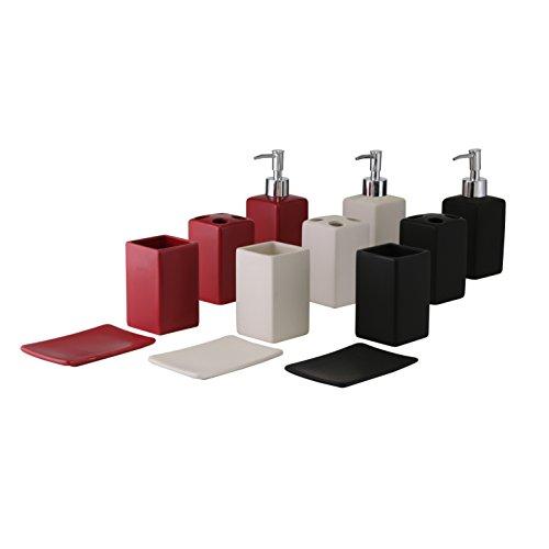 Bad-Set 4-teilig schwarz/weiß/rot Zahnputzbecher Seifenspender Seifenschale -
