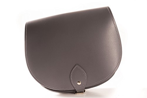 Vera pelle Saddle Croce borsa corpo con fibbia di chiusura e tracolla regolabile. Disponibile in vari colori. grigio