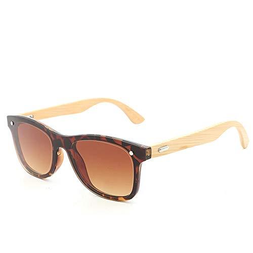 Easy Go Shopping Männer und Frauen Arbeiten Sonnenbrille-Gläser-Bambusbein-quadratische Rahmen-Sonnenbrille um Sonnenbrillen und Flacher Spiegel (Color : Tea, Size : Kostenlos)
