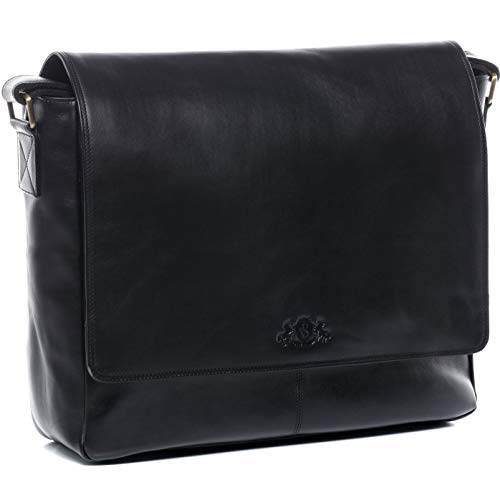 SID und VAIN Laptoptasche Messenger Bag echt Leder Spencer groß Businesstasche 15 Zoll Laptop Umhängetasche Herren schwarz