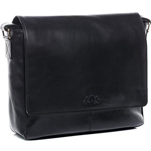 che Messenger Bag echt Leder Spencer groß Businesstasche 15,6 Zoll Laptop Umhängetasche Laptopfach Herren schwarz ()