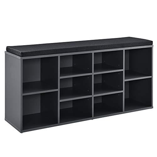 [en.casa] Banco Zapatero Zapatero tapizado 103 x 30 x 48 cm Negro/Gris Oscuro 10 Compartimentos